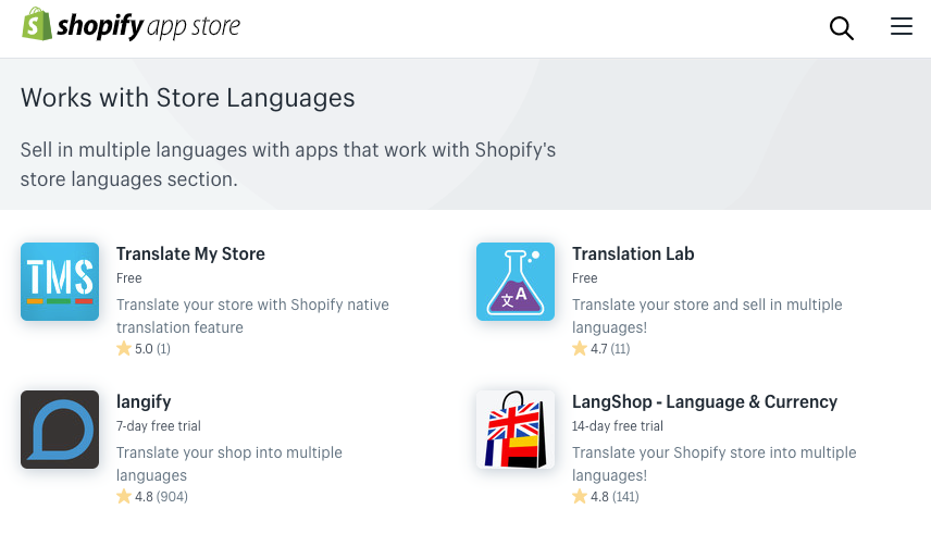 TRANSLATION APPS WHICH SUPPORT THE SHOPIFY TRANSLATIONS API, THE NEW, CORRECT WAY TO CREATE LANGUAGE VERSIONS FOR A SINGLE STORE