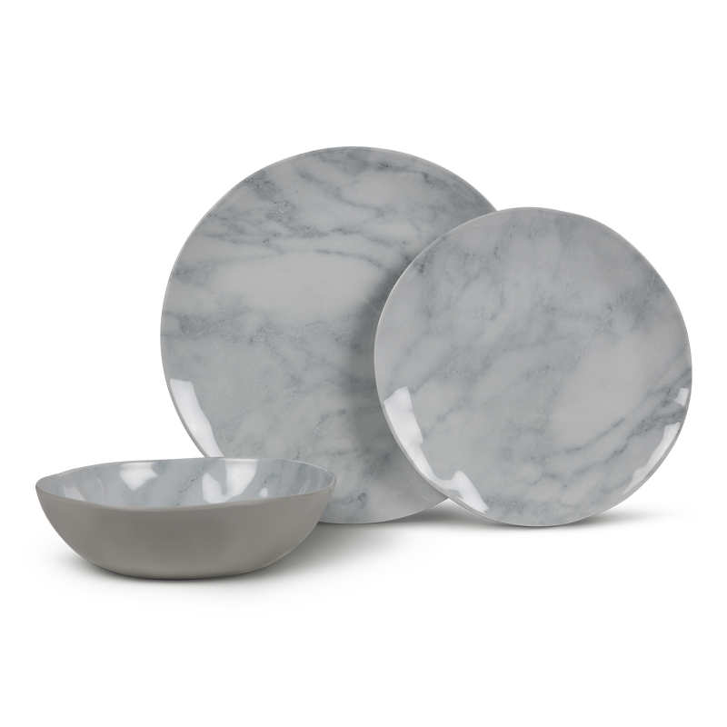 Kampa Marble 12 Piece Melamine Dinner Set