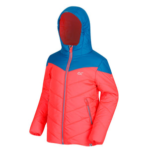 Regatta Kids' Lofthouse III Heavyweight Hooded Jacket - Fiery Coral Petrol Blue
