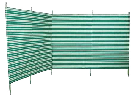 Blue Diamond Traditional 5 Pole Green Stripe Windbreak
