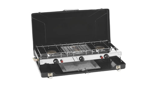 Outwell Appetizer Cooker 3-Burner Stove with Grill