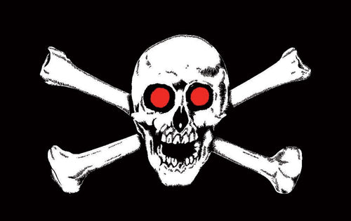 Pirate Skull with Red Eyes Flag 5ft by 3ft, windsocks