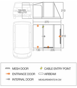 Vango Kela V Low Air Away Drive Away Awning floor plan