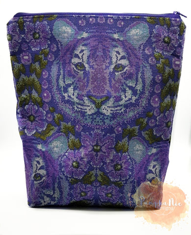 Large Planner Pouch - Tula Pink Crouching Tiger Amethyst