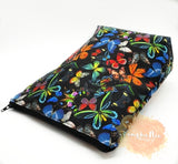 Medium Planner Pouch - Butterflies on Black Background