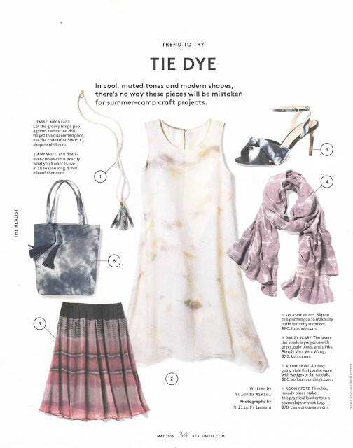 Cameo Nouveau Remi and Reid Rasta Tye Die Tassel Tote in REAL SIMPLE MAG