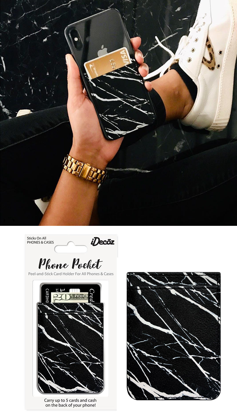 Black Marble Self Stick Phone Pocket