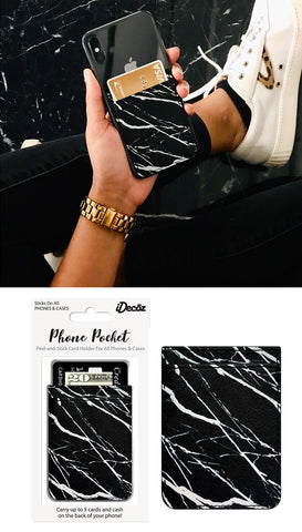 White Marble Self Stick Phone Pocket