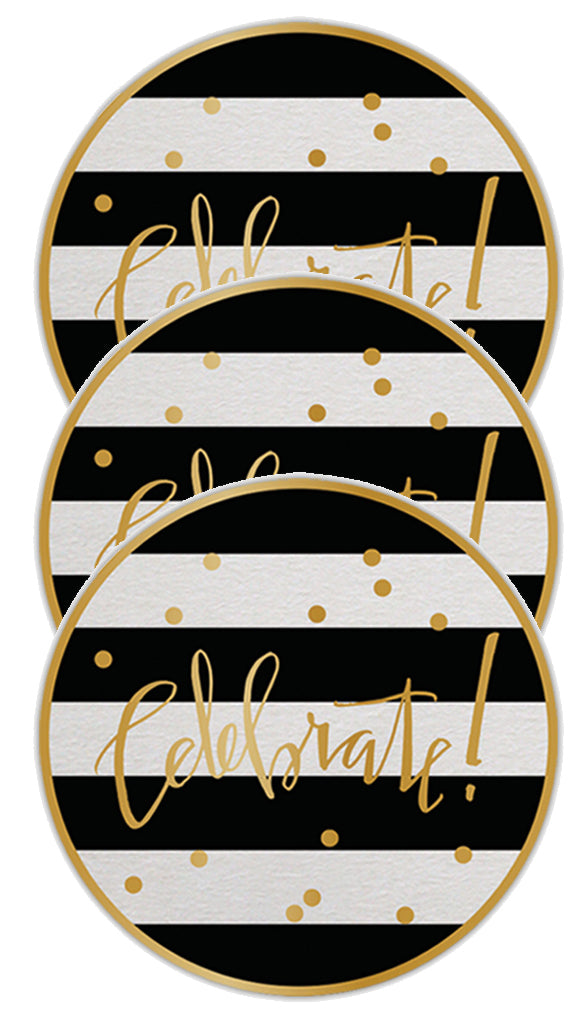 Black + White Striped Gold Foil Celebrate Paper Coasters