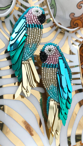 Peacock Dangle Earrings by Olivia Dar