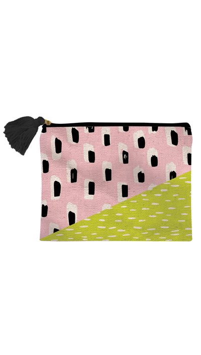 Brush Stroke Print Canvas Cosmetic Bag w. Tassel