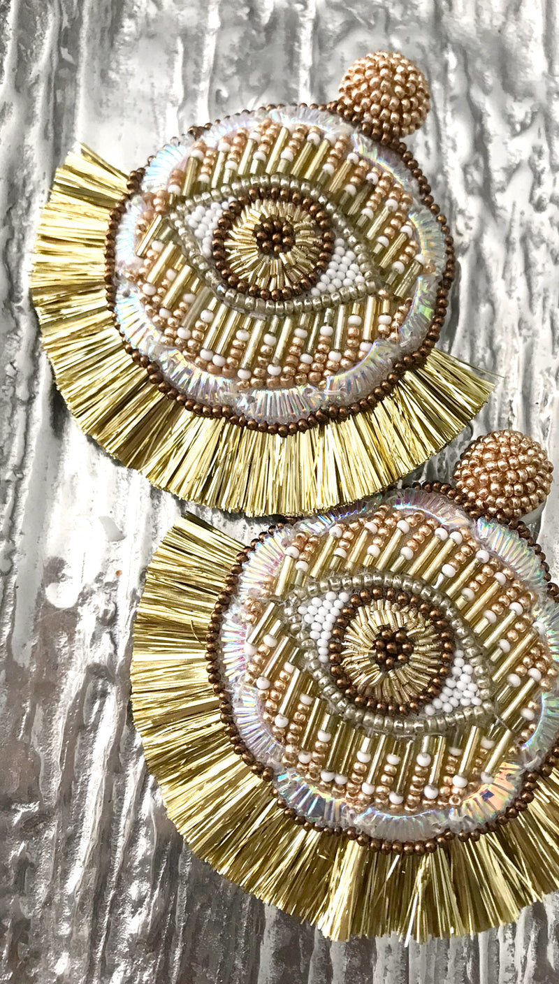 Gold Beaded Evil Eye Medallion Earrings | Olivia Dar