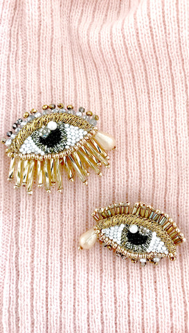 Gold Beaded Evil Eye Medallion Earrings by Olivia Dar