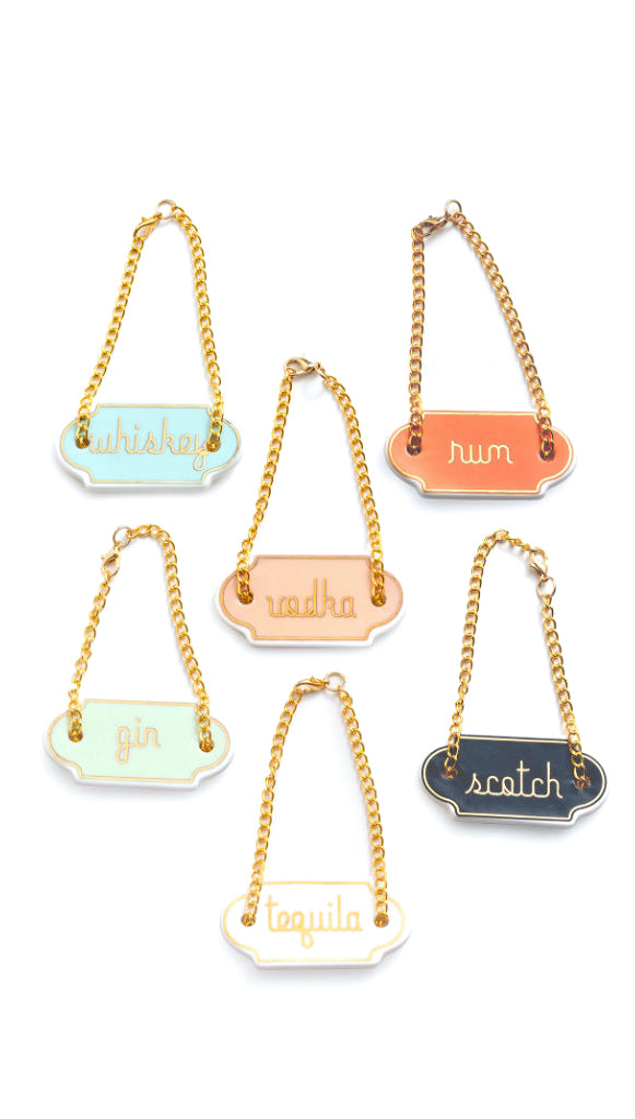 Pastel Porcelain Decanter Tags