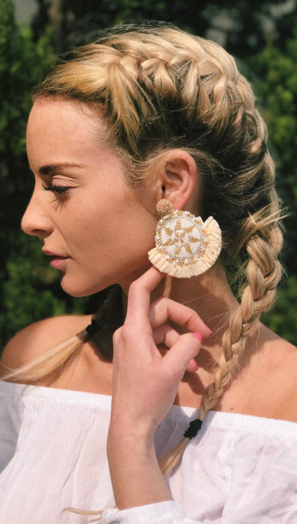 Gold White Medallion earrings Olivia Dar