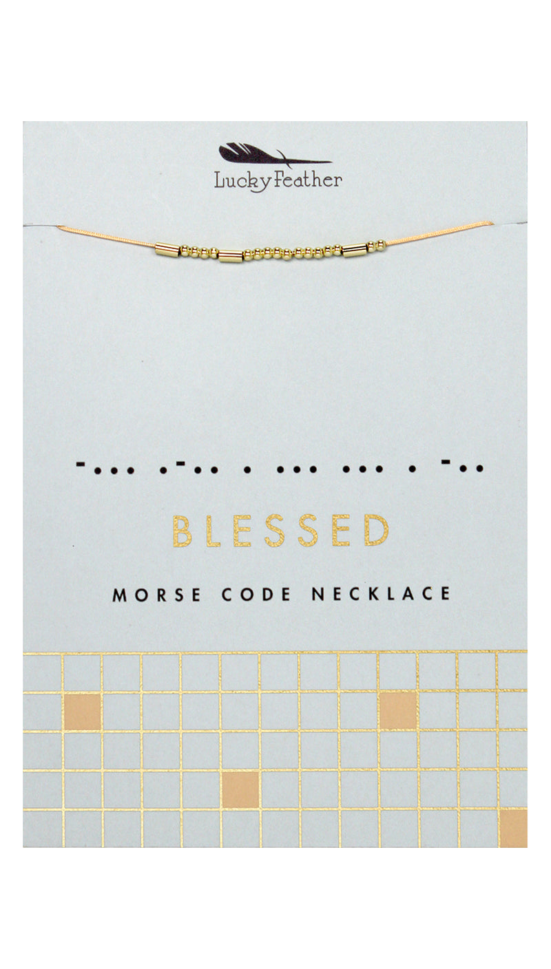 Morse Code BLESSED Necklace | Lucky Feather