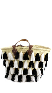 Straw Bag with Tassels — Black and White