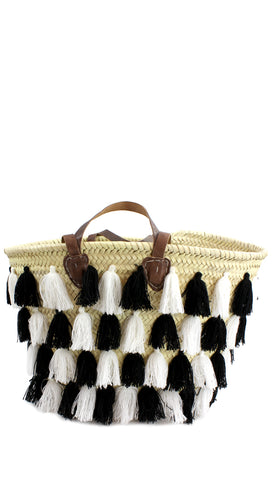 Sequin Star Tassel Straw Beach Tote Bag