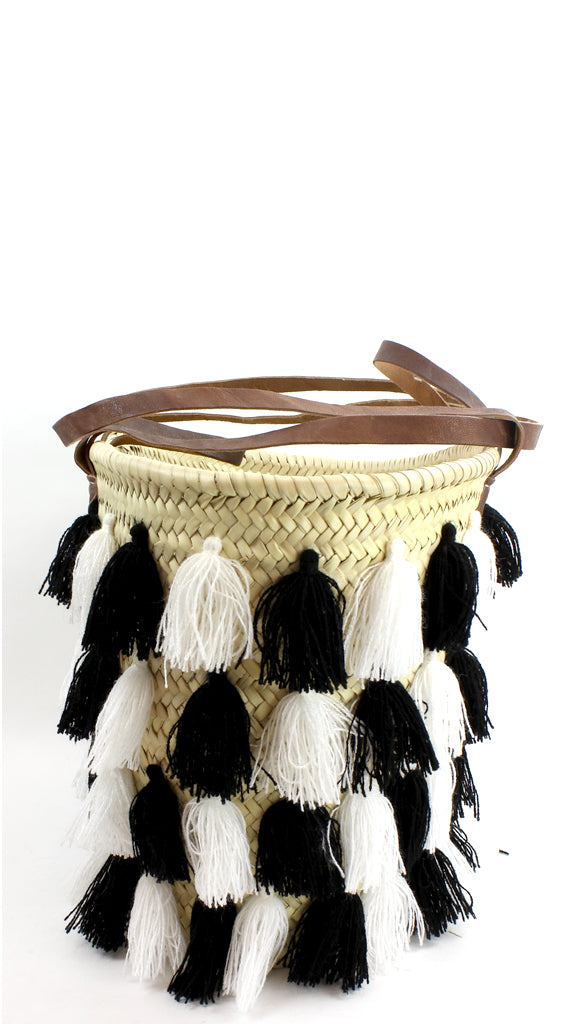 Black and White Straw Beach Bag with Tassels