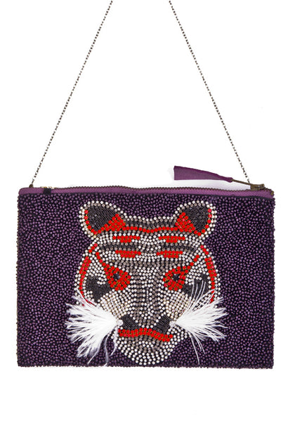 Tiger Embellished Crossbody Bag