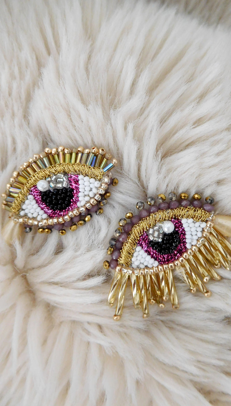 Pink Crazy Eye Earrings by Olivia Dar
