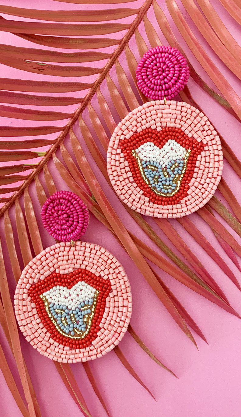 Pink Lip Medallion Earrings | Marisa Rae