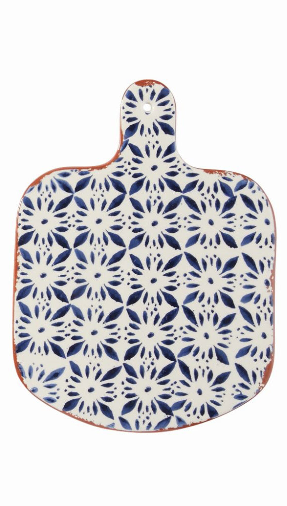 Indigo Shibori Terracotta Paddle Serving Board—Ikat