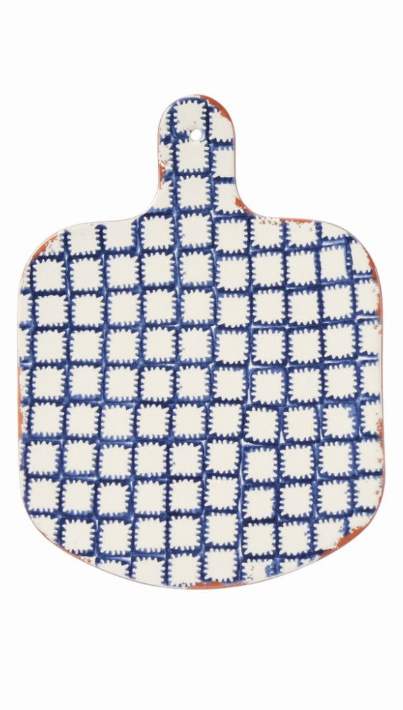 Indigo Shibori Terracotta Paddle Serving Board—Batik