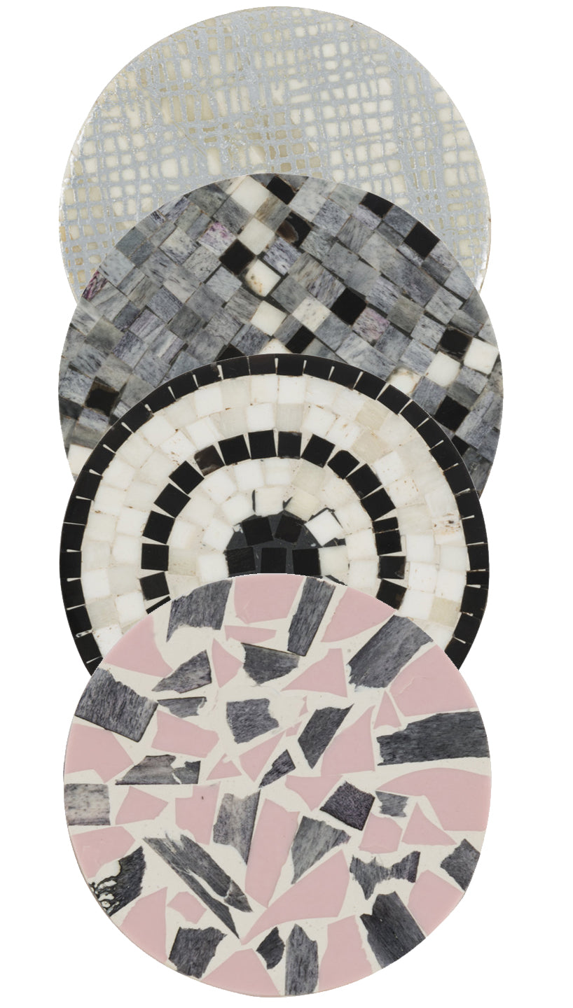 Pink/Stone/Gray Stone Mosaic Cocktail Coasters