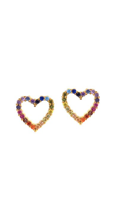 Tai Jewelry Rainbow Heart Earrings