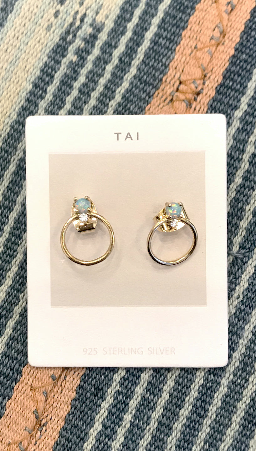 Tai Jewelry Opal Small Circle Earrings