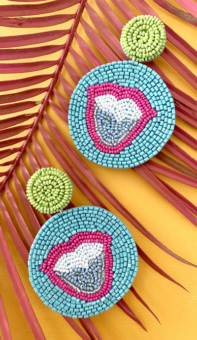 Azure Lip Medallion Earrings