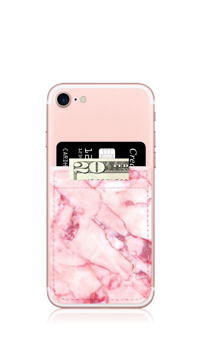 Blush Marble Self Stick Phone Pocket