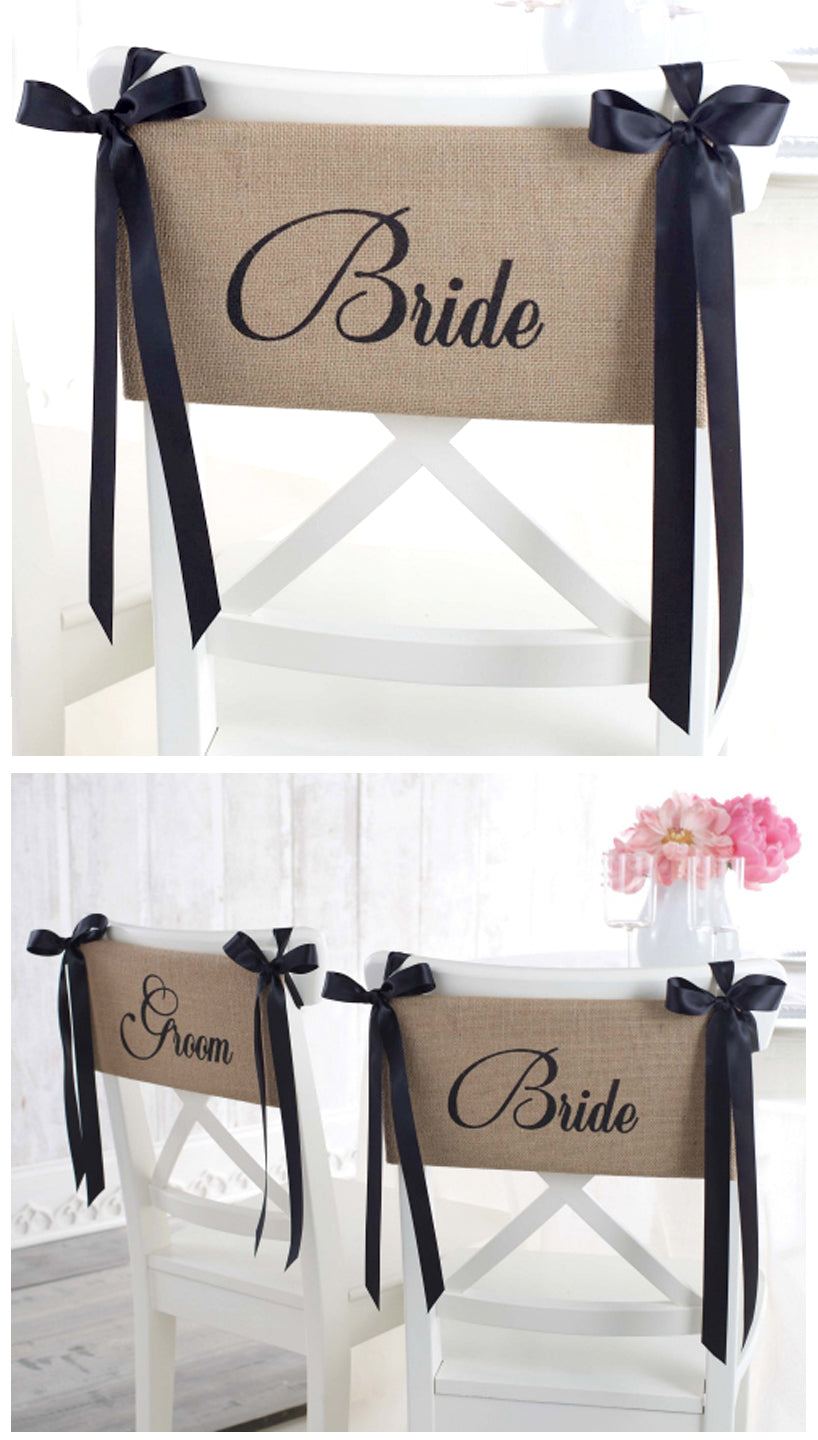 Bride and Groom Burlap Chair Sash