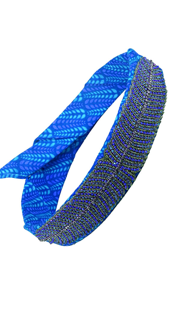 Bright Bazaar Blue Beaded Headwrap