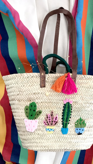 Cactus Tassel Straw Beach Tote Bag