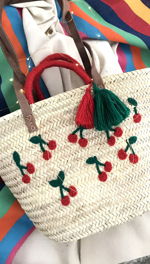 Cherry Pom Straw Bag with Tassels
