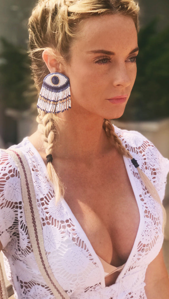 Evil Eye Long Earrings Blue/White by Olivia Dar