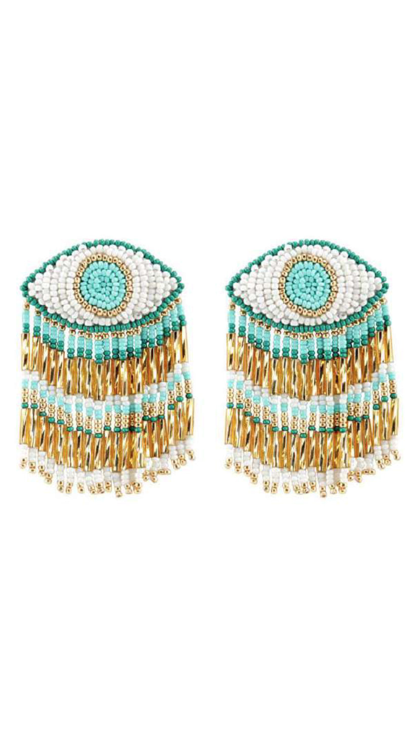 Evil Eye Long Earrings Mint/Gold | Olivia Dar
