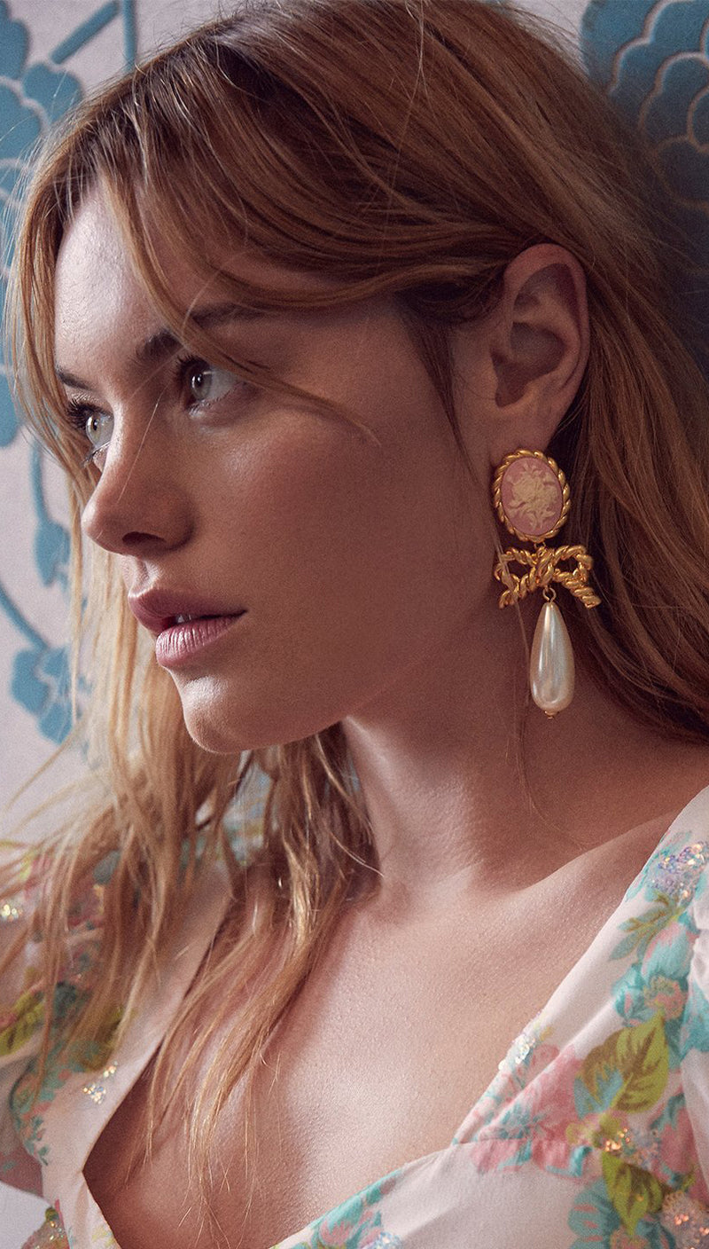 For Love and Lemons CAMEO PEARL DROP EARRINGS