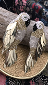 Gold Parrot Earrings | Olivia Dar