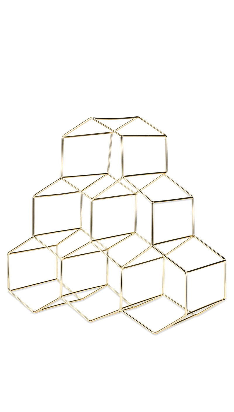 Geometric Gold Wine Rack