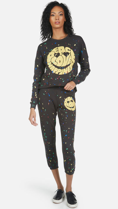 Lauren Moshi Alana Crop Sweatpant - Text Happy Face