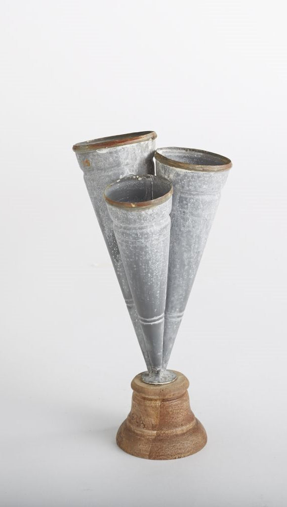 Large Conical Tin Triple Vase