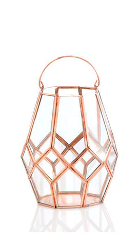 Open Cage Copper Lantern - Tall