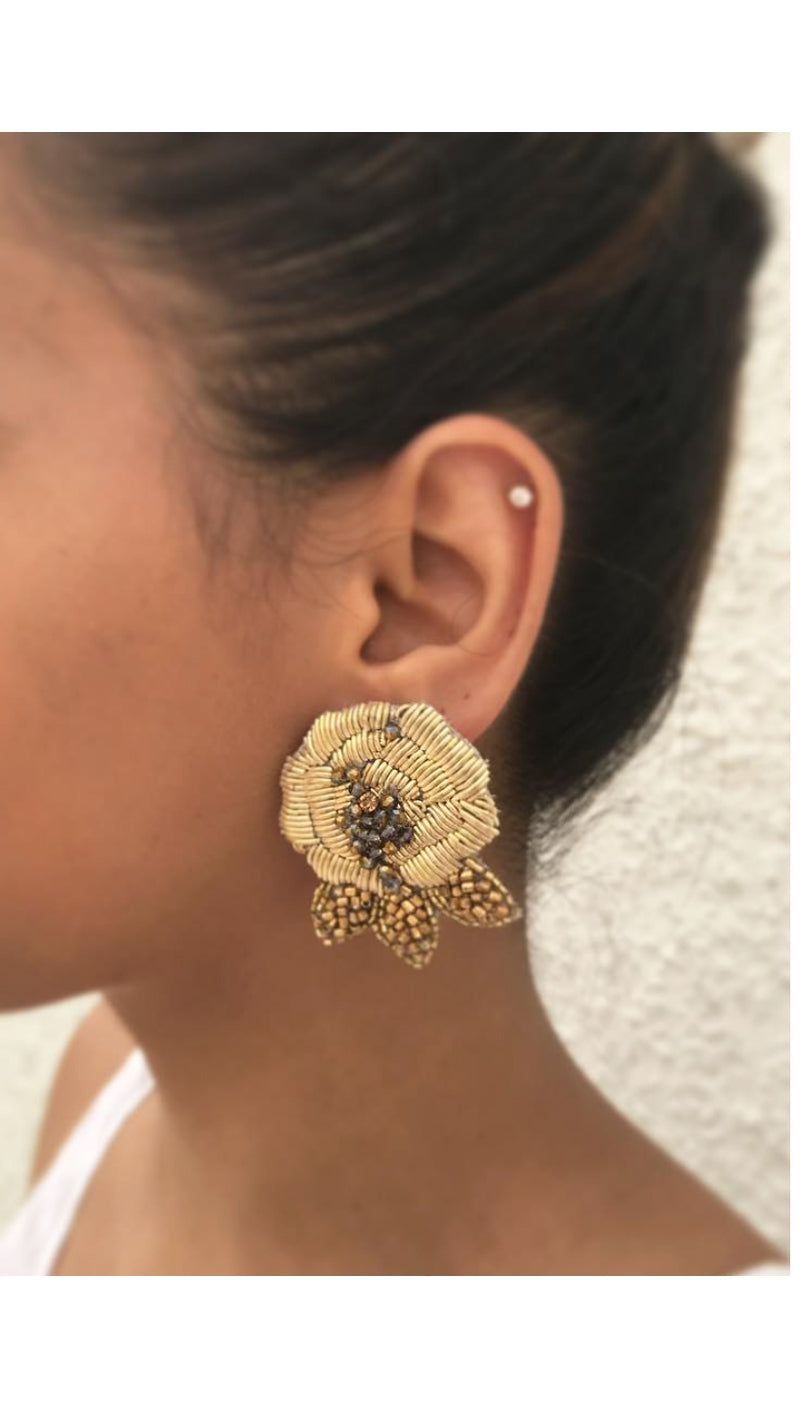 Gold Rose Earrings by Olivia Dar