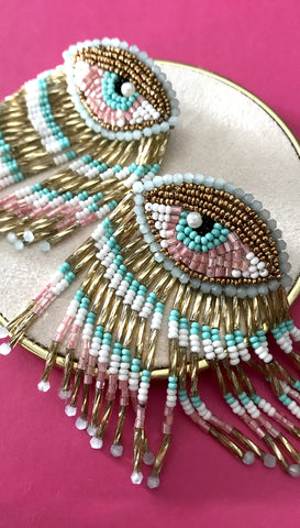 Pink Beaded Fringe Medallion Earrings by Olivia Dar