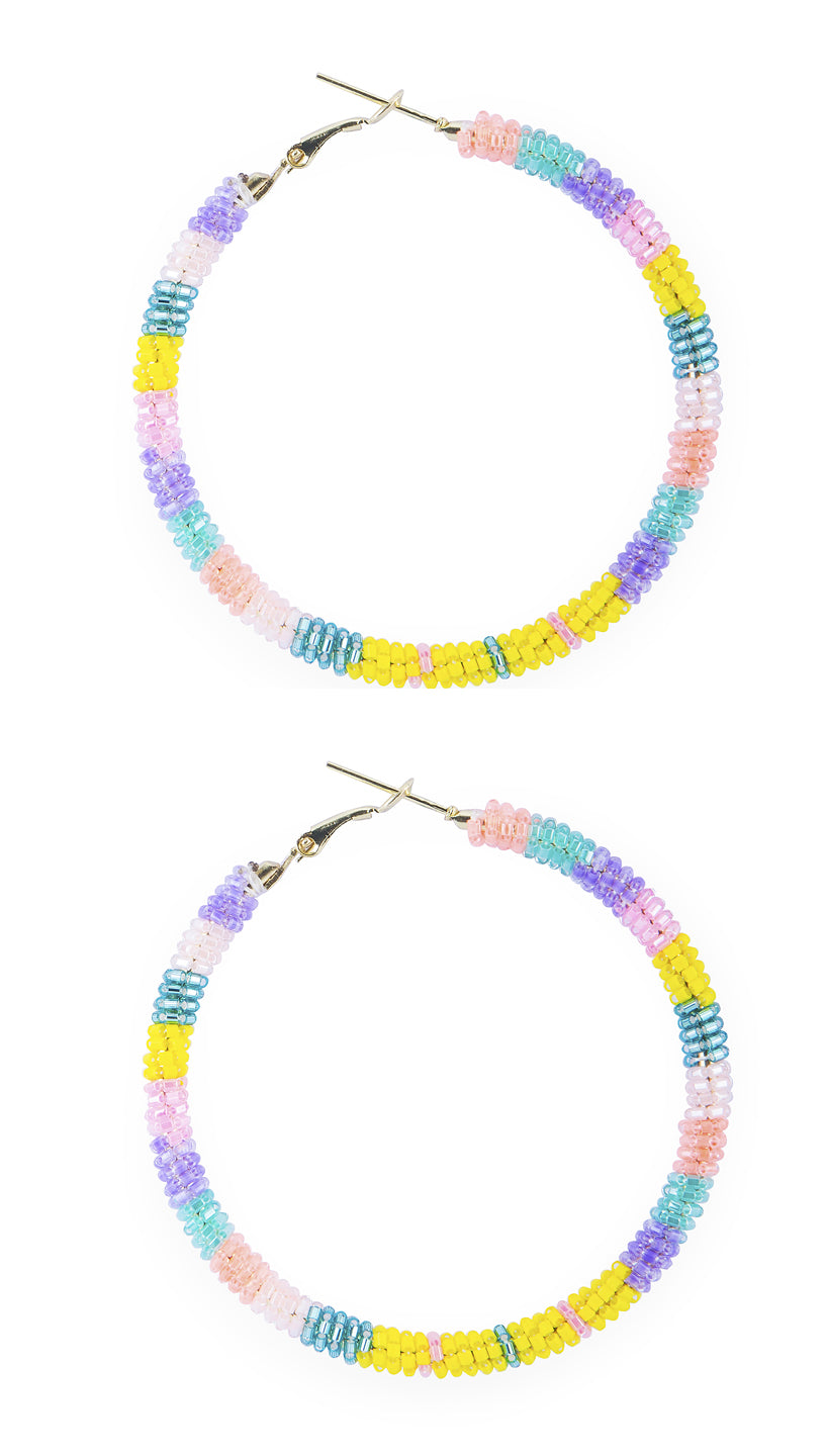 Beaded Hoop Earrings Multi Bright | Olivia Dar