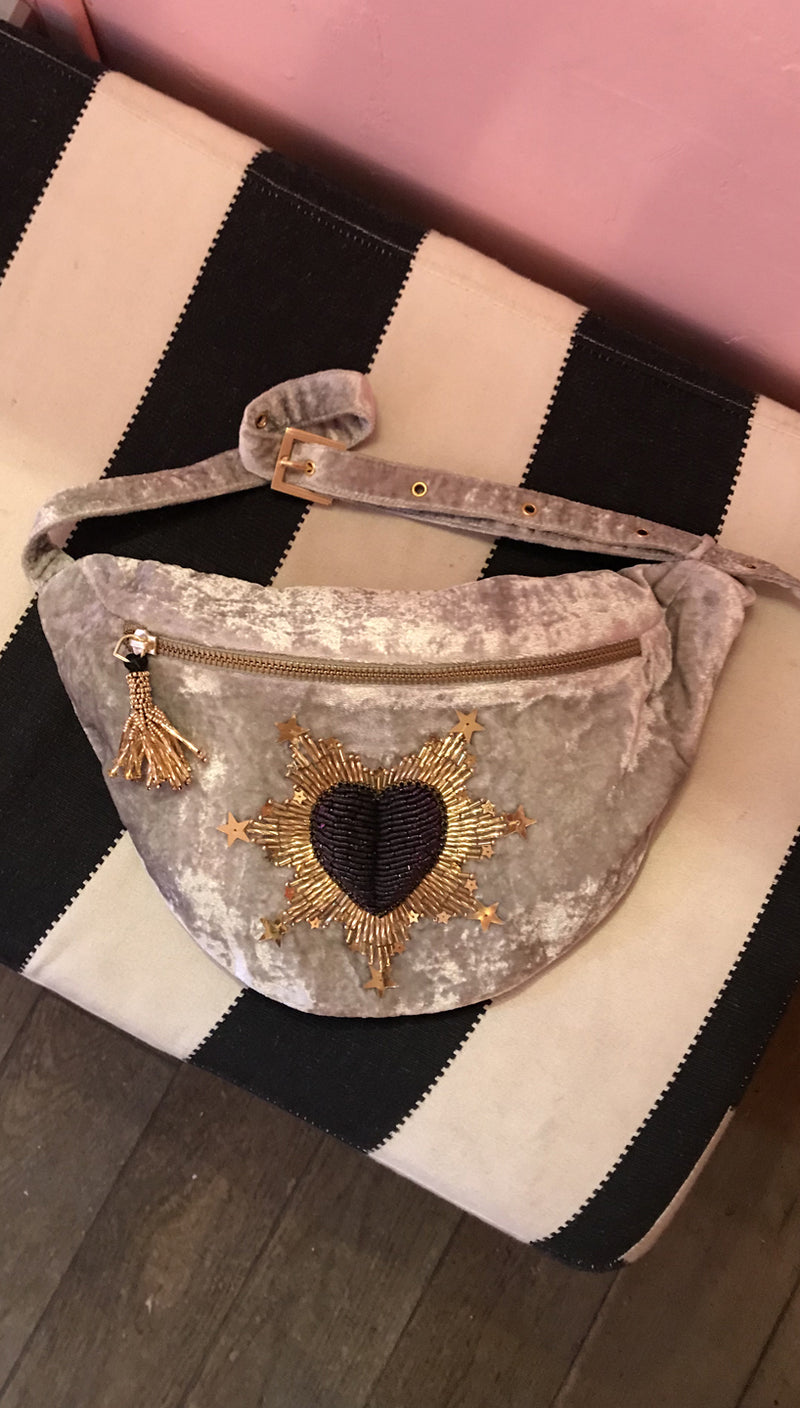 Olivia Dar Beaded Heart Belt Bag Grey Velvet