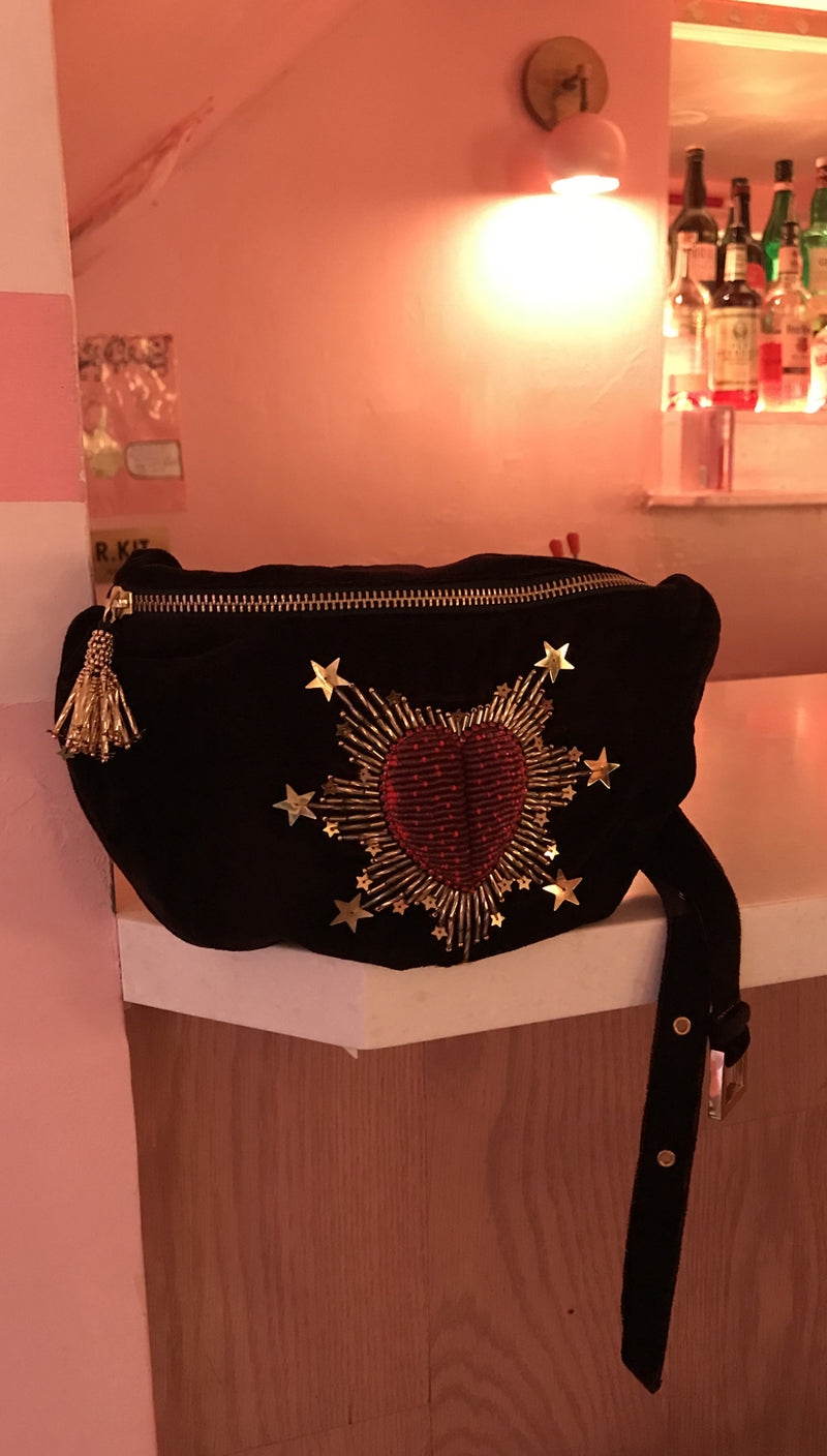 Olivia Dar Beaded Heart Belt Bag Deep Burgundy Velvet